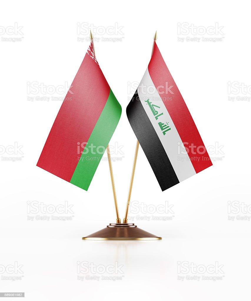 Miniature Flag of Belarus and Iraq stock photo