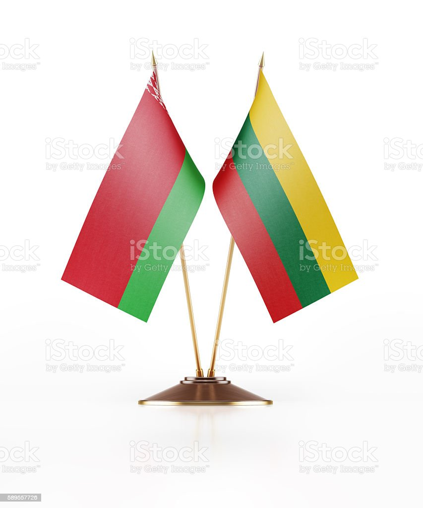 Miniature Flag of Belarus and Lithuania stock photo