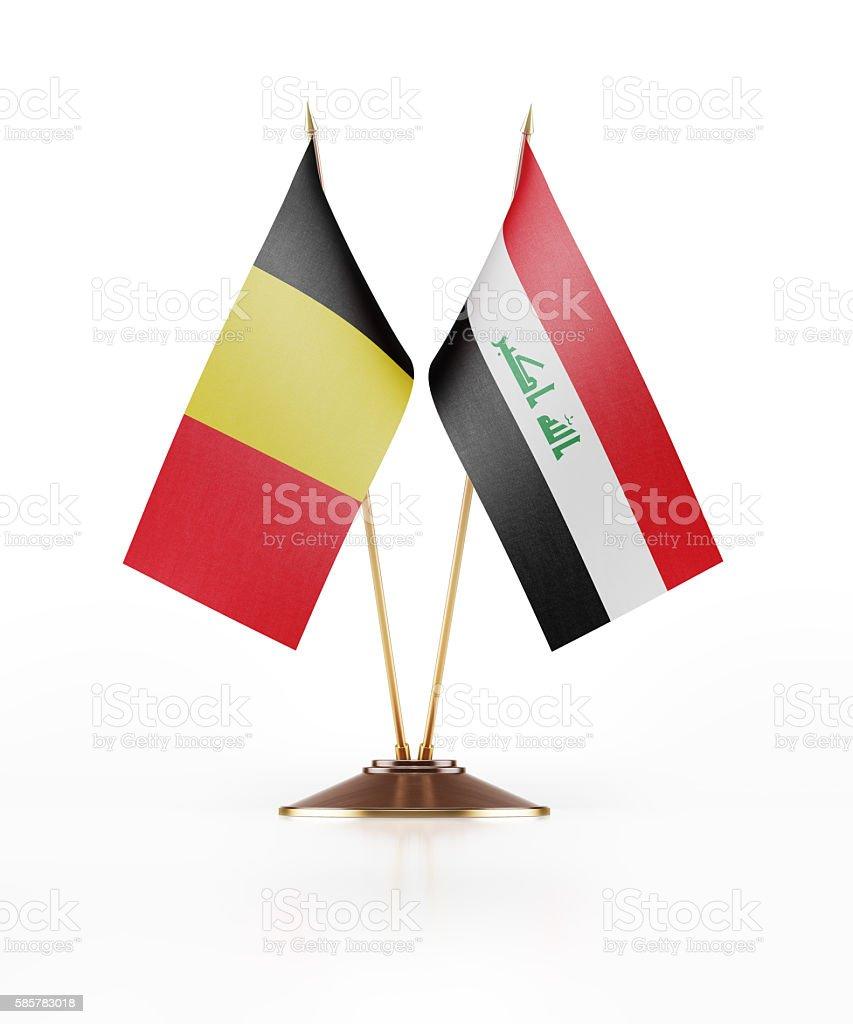 Miniature Flag of Belgium and Iraq stock photo