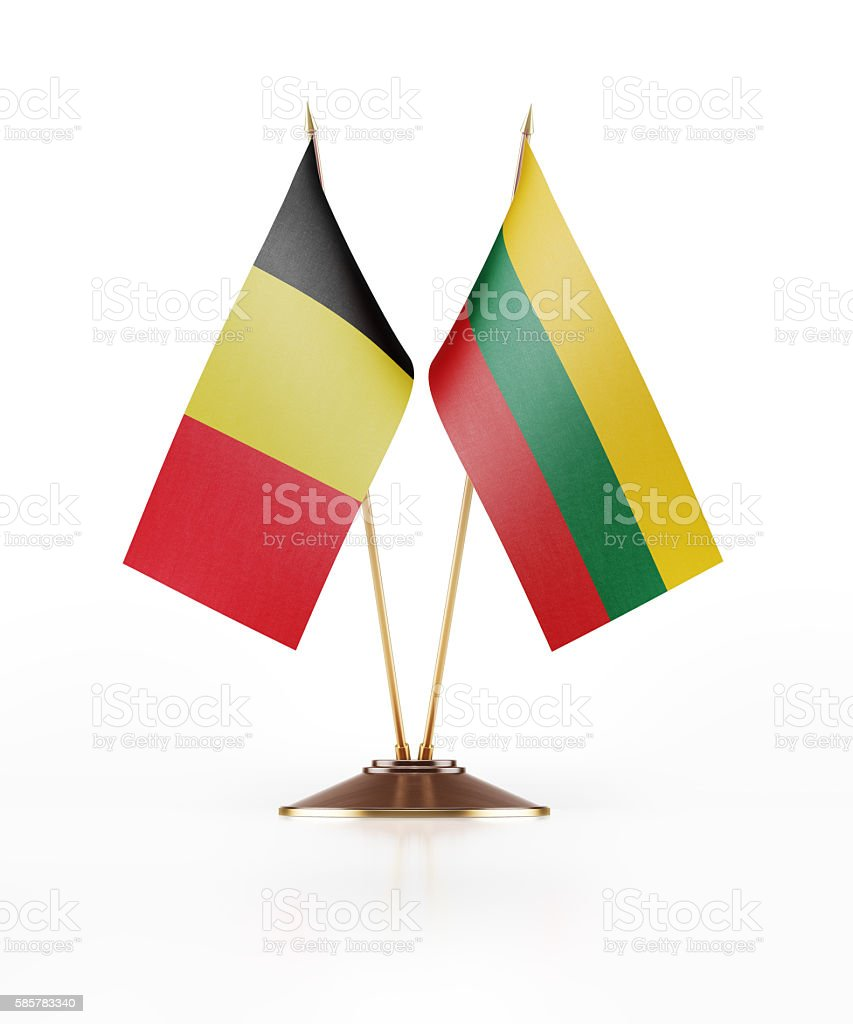 Miniature Flag of Belgium and Lithuania stock photo