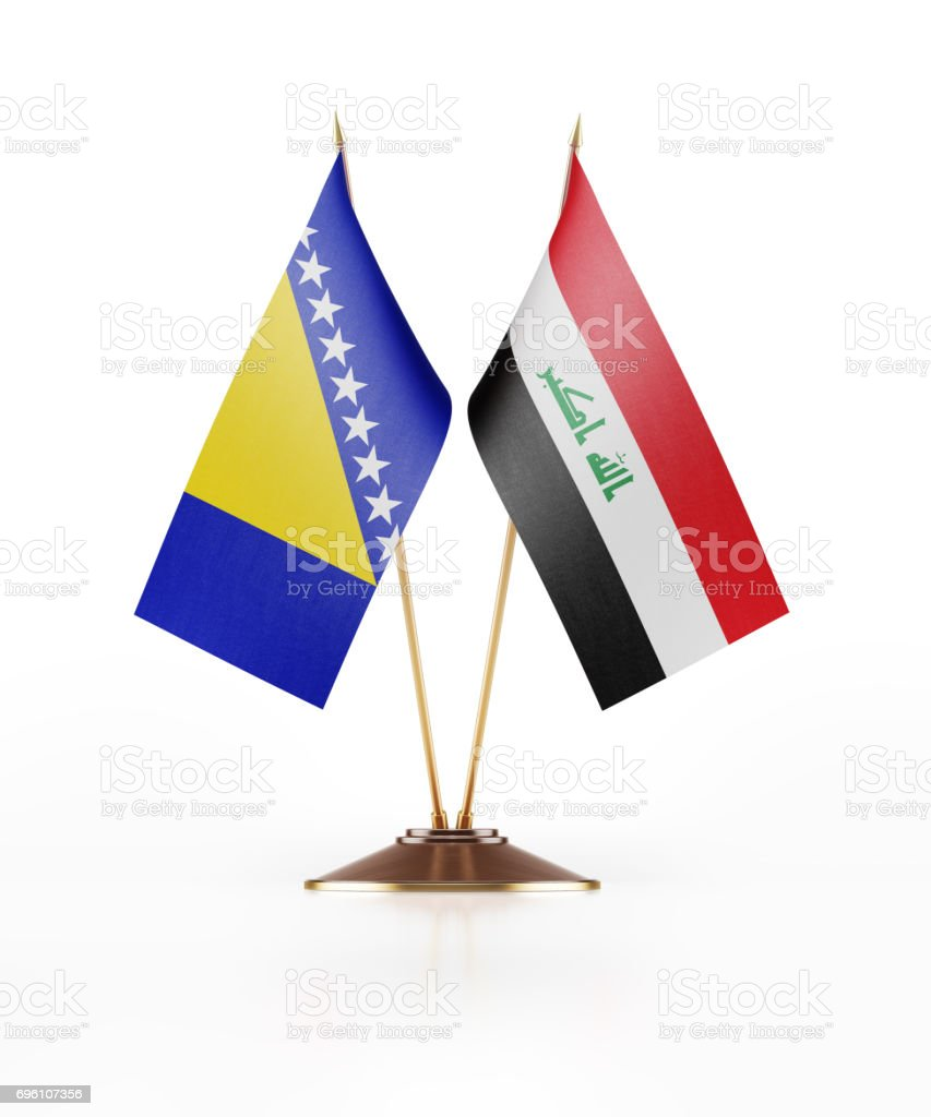Miniature Flag of Bosnia Hercegovina and  Iraq stock photo