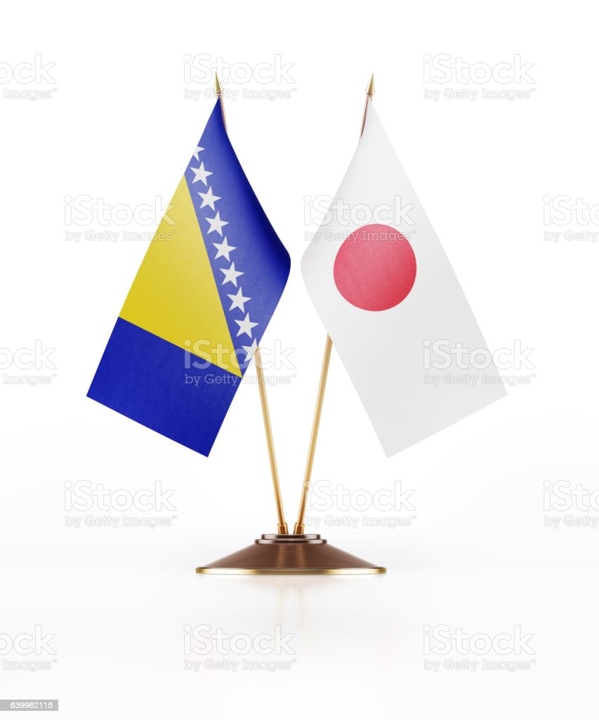 Miniature Flag of Bosnia Hercegovina and Japan stock photo