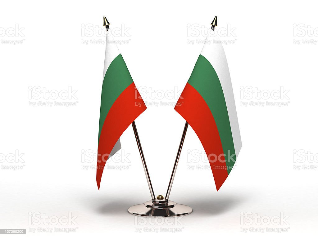Miniature Flag of Bulgaria (Isolated) stock photo