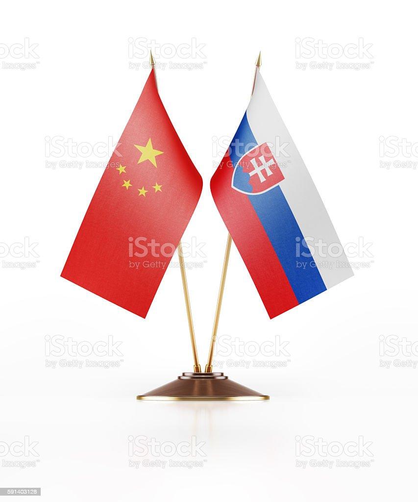 Miniature Flag of China and Slovakia stock photo