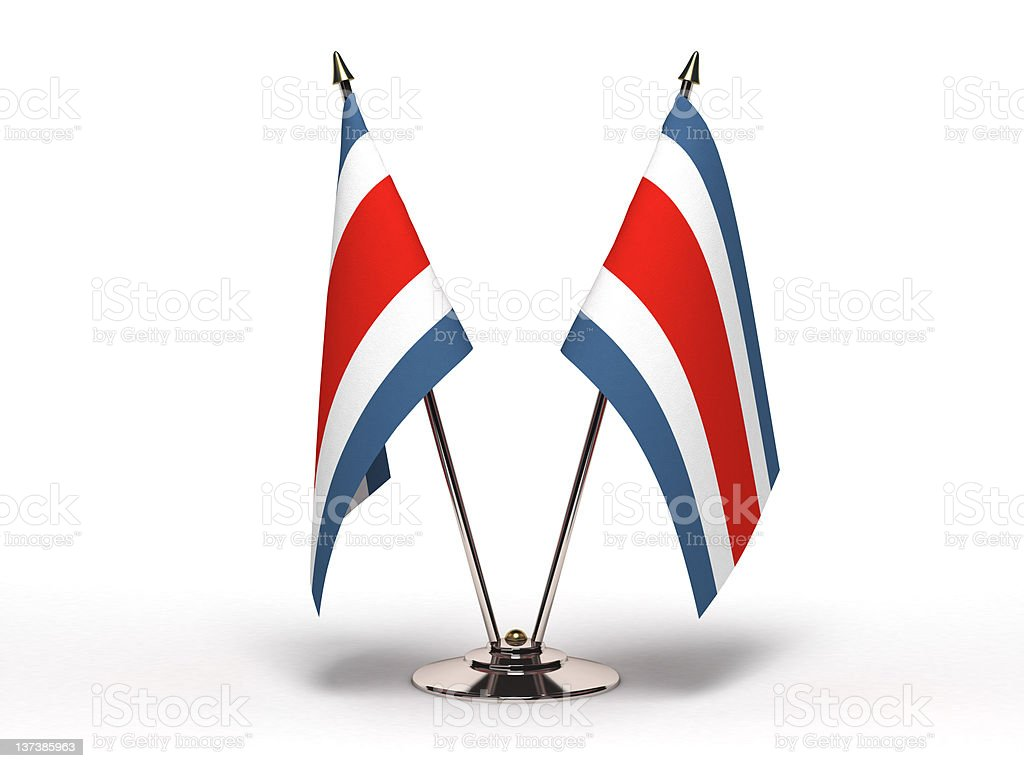 Miniature Flag of Costa Rica (Isolated) stock photo