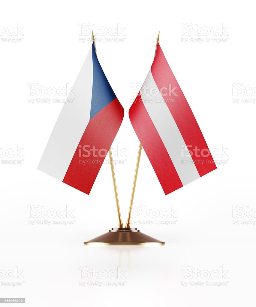 Miniature Flag of Czechoslovakia and Austria stock photo