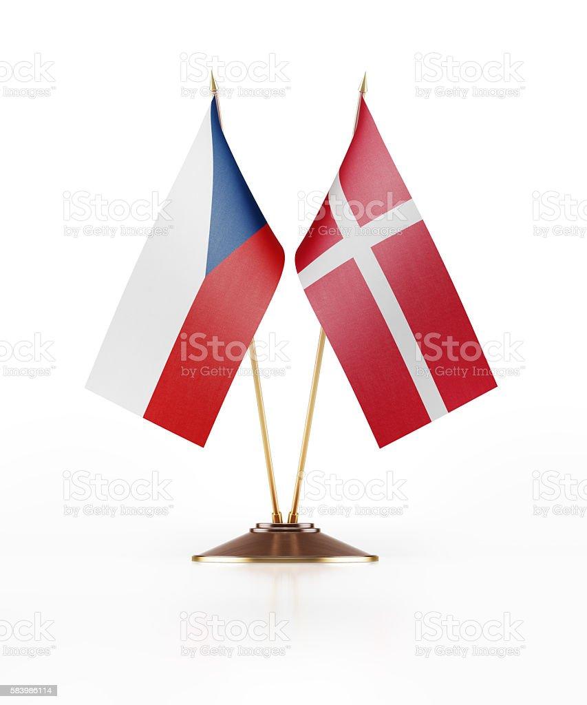 Miniature Flag of Czechoslovakia and Denmark stock photo