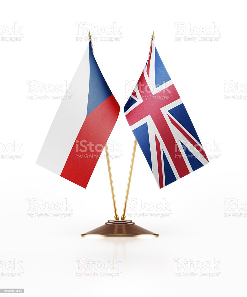 Miniature Flag of Czechoslovakia and Great Britain stock photo