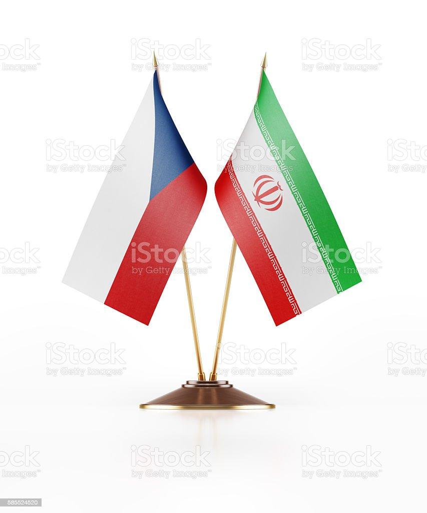 Miniature Flag of Czechoslovakia and Iran stock photo