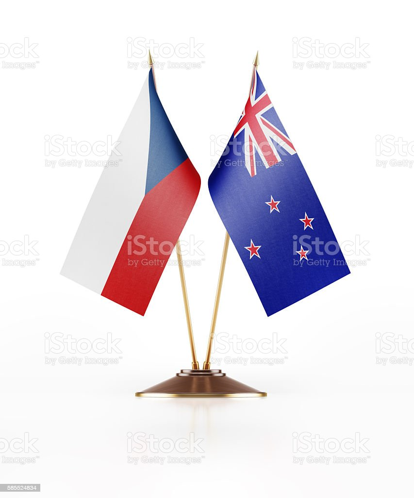 Miniature Flag of Czechoslovakia and New Zealand stock photo