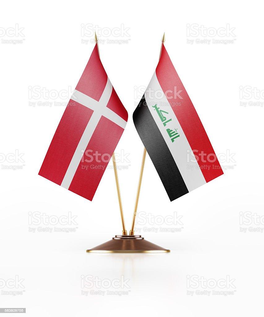 Miniature Flag of Denmark and Iraq stock photo