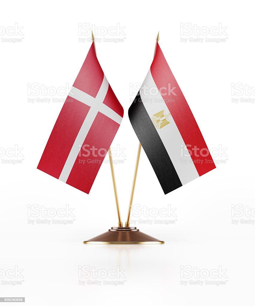 Miniature Flag  of Egypt and Denmark stock photo