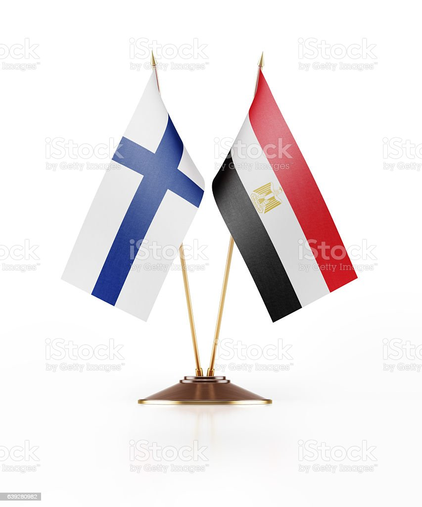 Miniature Flag  of Egypt and Finland stock photo