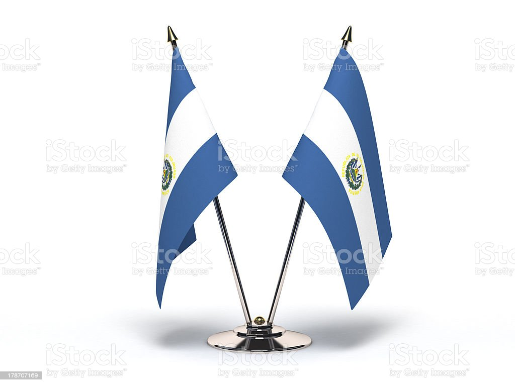 Miniature Flag of El Salvador (Isolated) stock photo