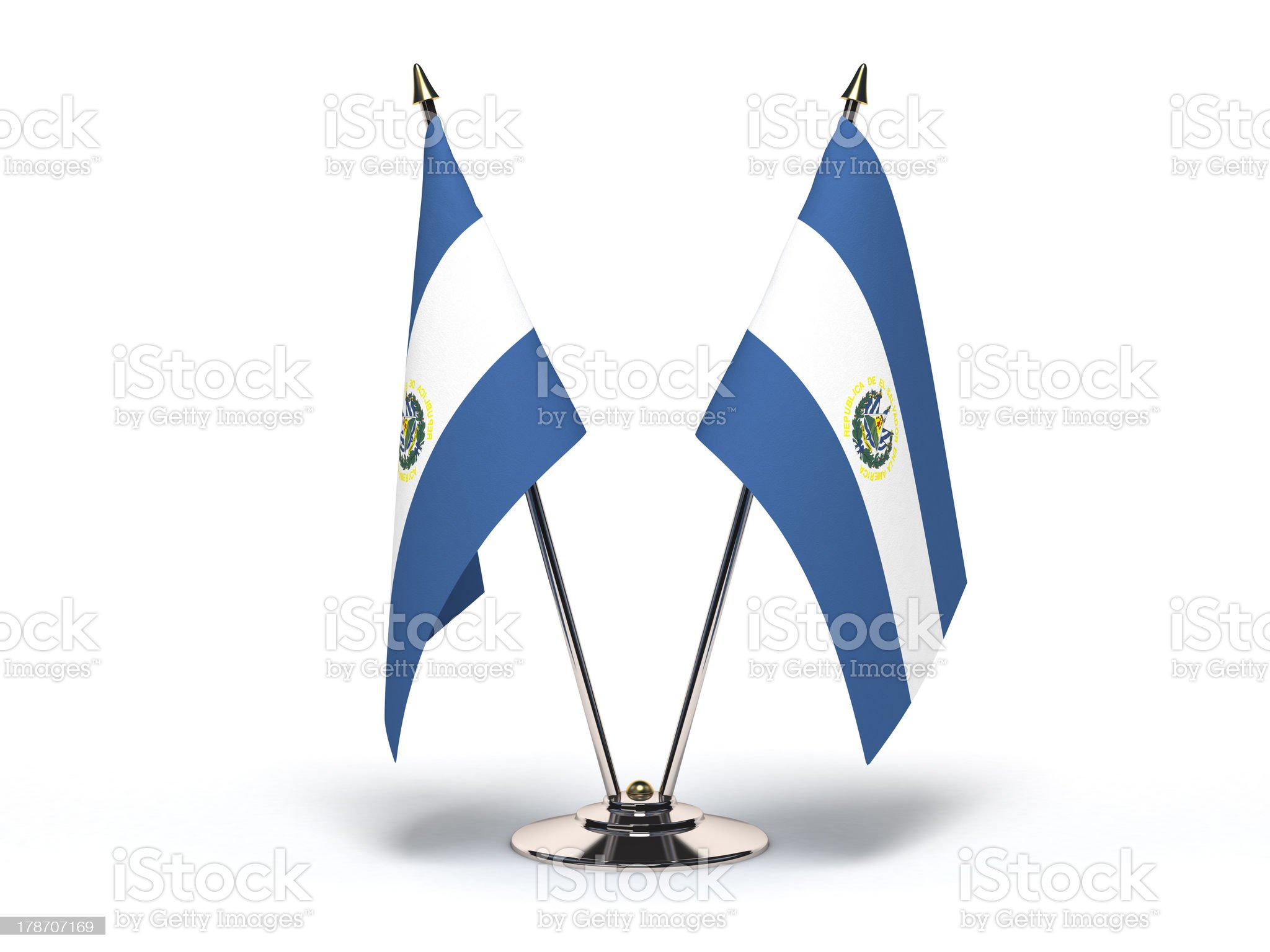 Miniature Flag of El Salvador (Isolated) royalty-free stock photo
