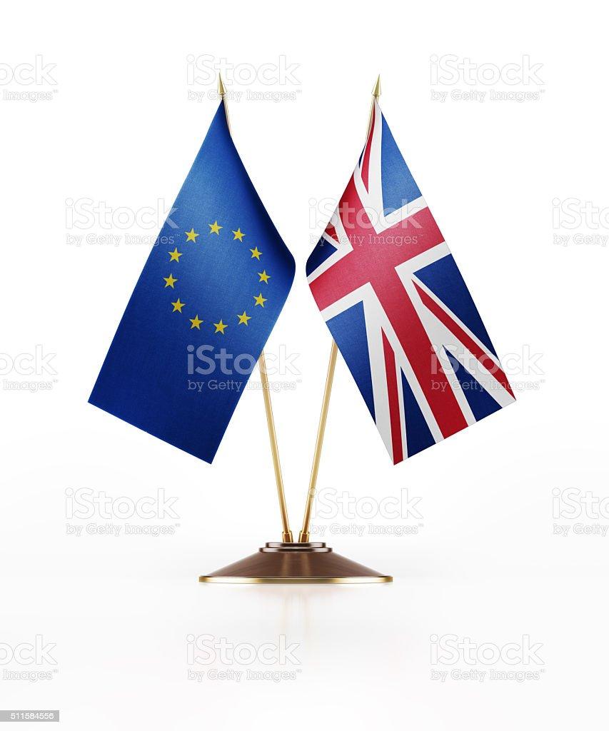Miniature Flag of European Union and United Kingdom stock photo