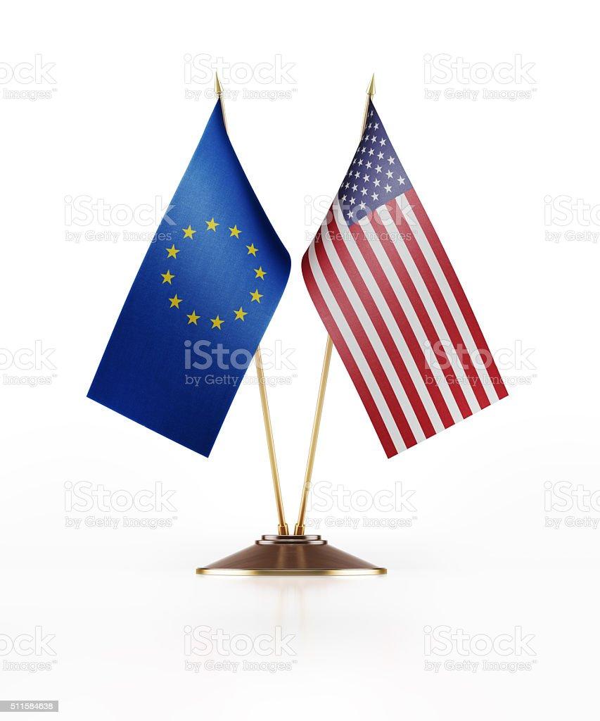 Miniature Flag of European Union and United States Of America stock photo