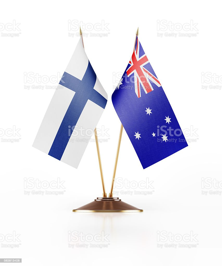 Miniature Flag of Finland and Australia stock photo