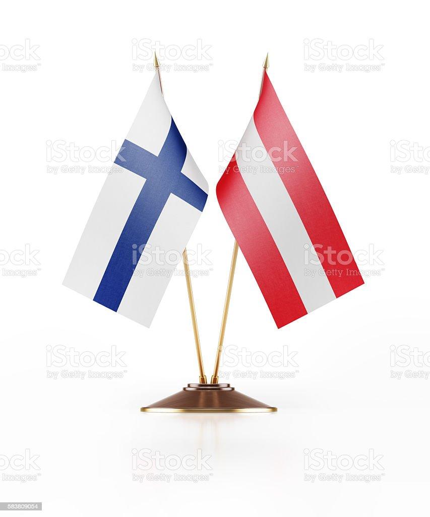 Miniature Flag of Finland and Austria stock photo