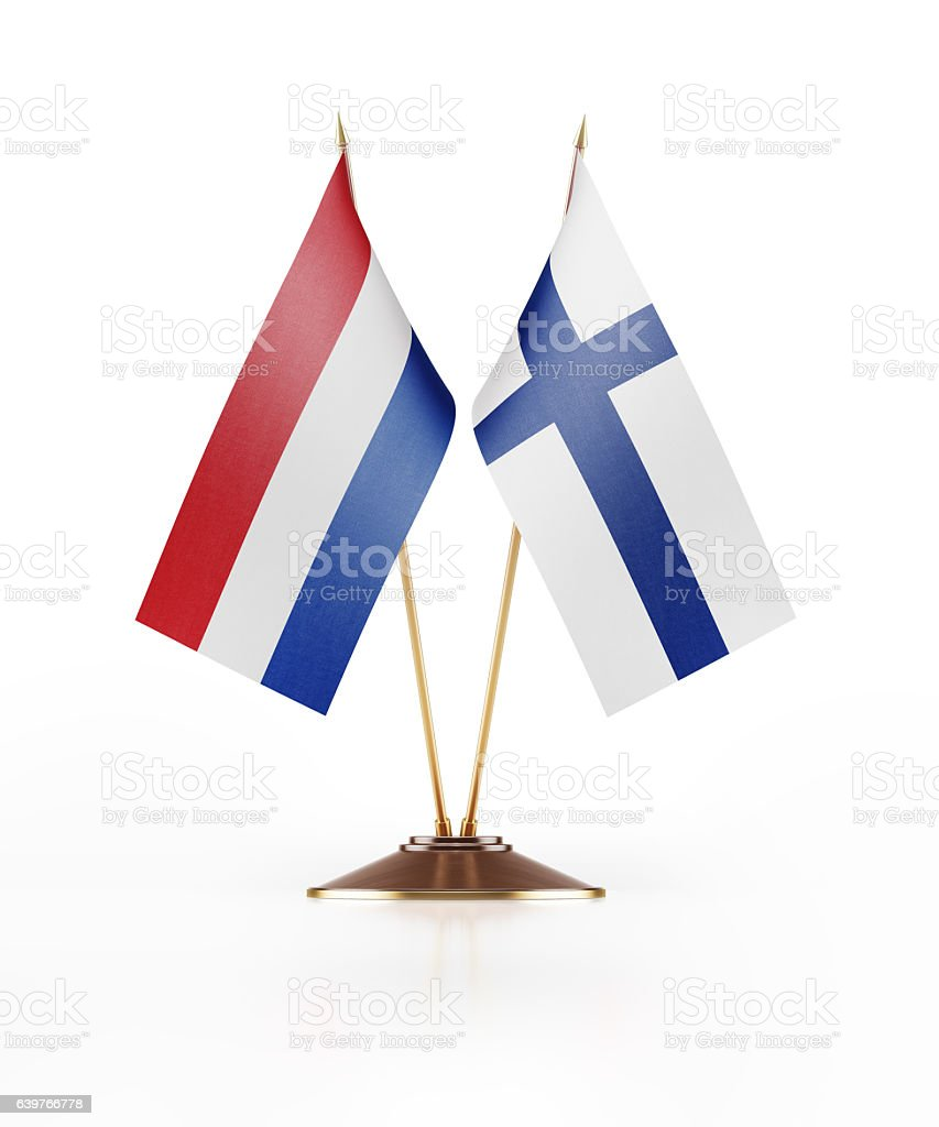 Miniature Flag  of Finland and Holland stock photo