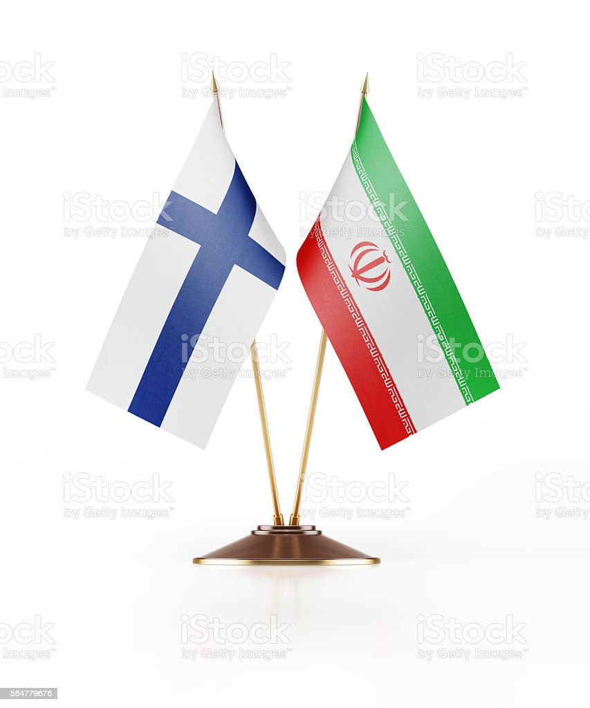 Miniature Flag of Finland and Iran stock photo