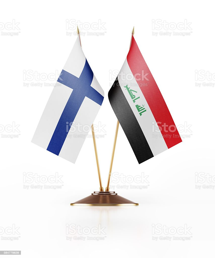 Miniature Flag of Finland and Iraq stock photo