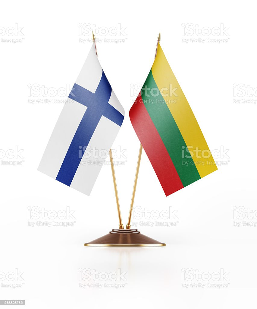 Miniature Flag of Finland and Lithuania stock photo