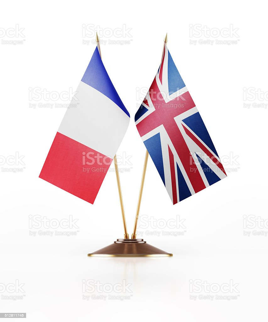 Miniature Flag of France and United Kingdom stock photo