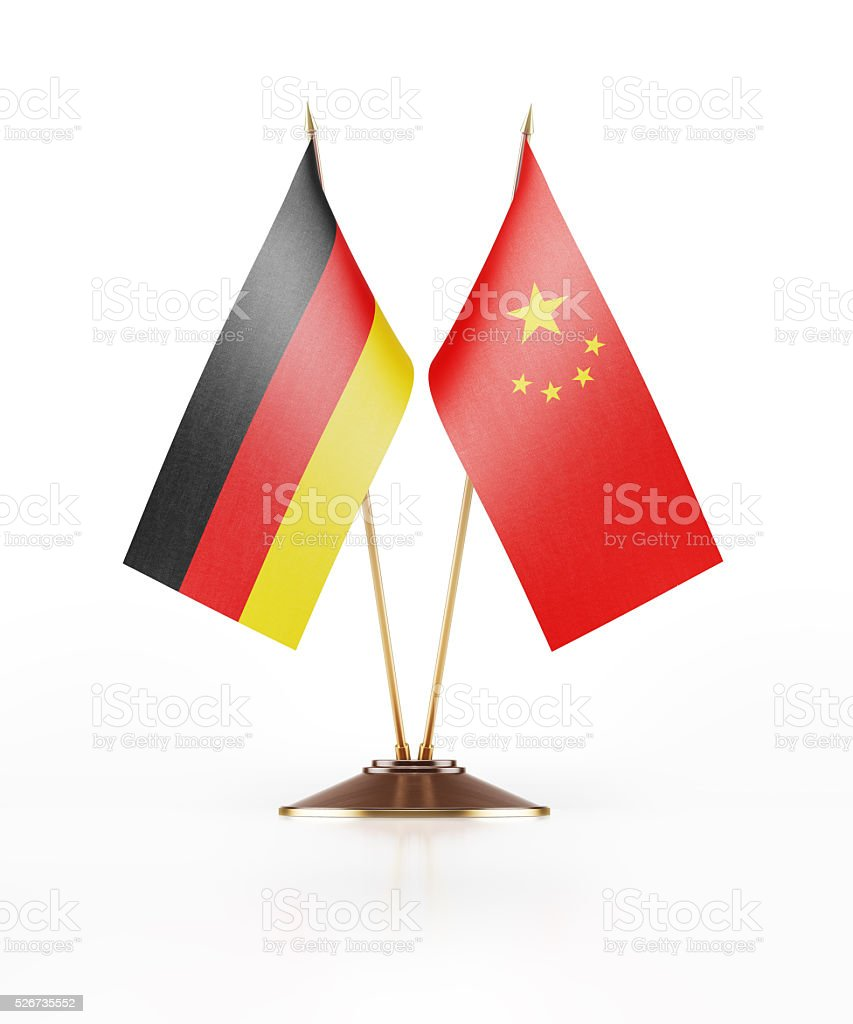 Miniature Flag of Germany and China stock photo