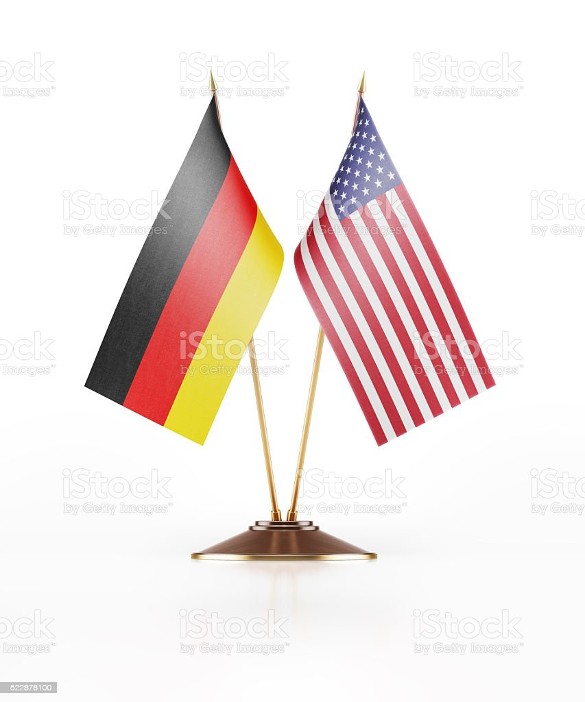 Miniature Flag of Germany and United States of America stock photo