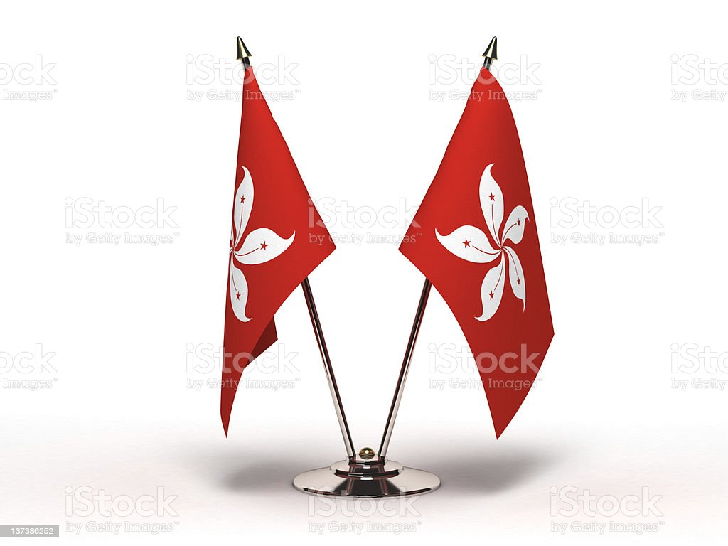 Miniature Flag of Hong Kong (Isolated) stock photo