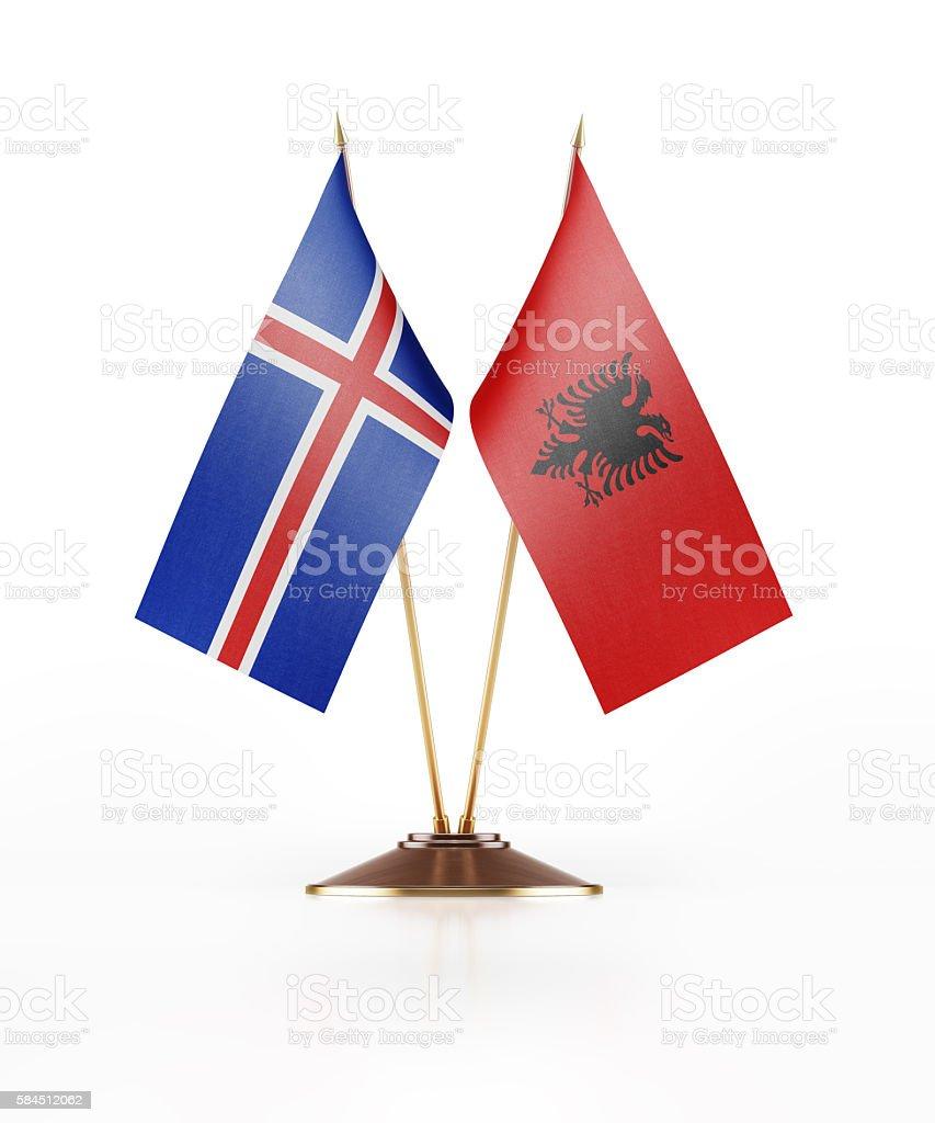 Miniature Flag of Iceland and Albania stock photo
