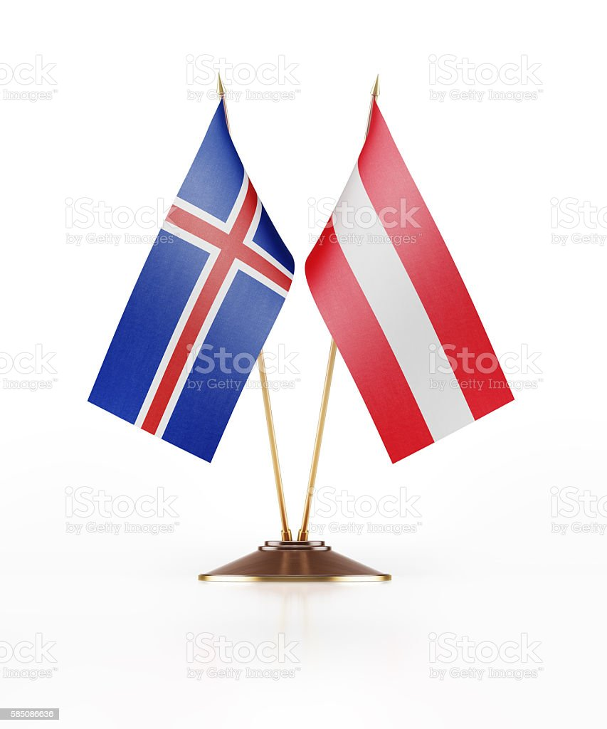 Miniature Flag of Iceland and Austria stock photo