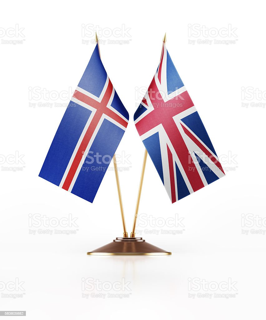 miniature flag of iceland and great britain stock photo 583805882
