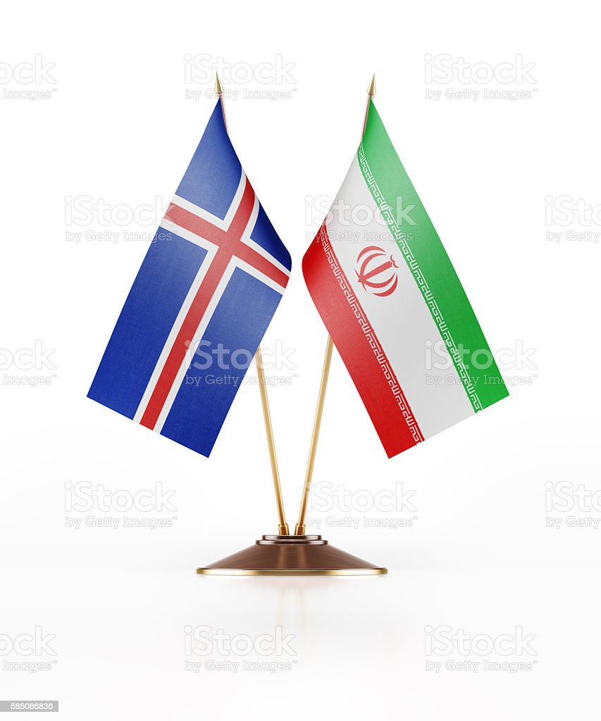 Miniature Flag of Iceland and Iran stock photo