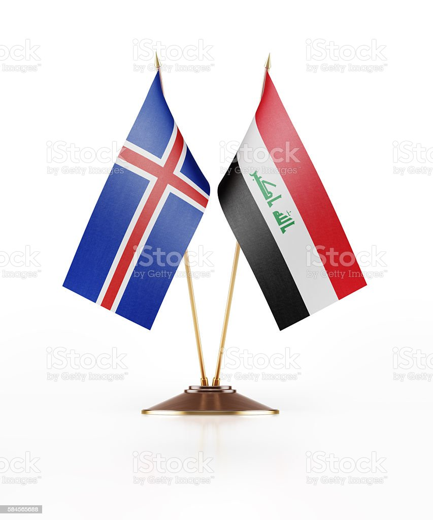 Miniature Flag of Iceland and Iraq stock photo