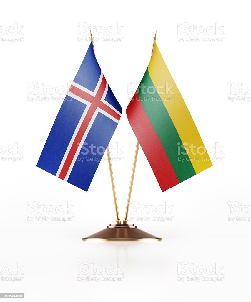 Miniature Flag of Iceland and Lithuania stock photo