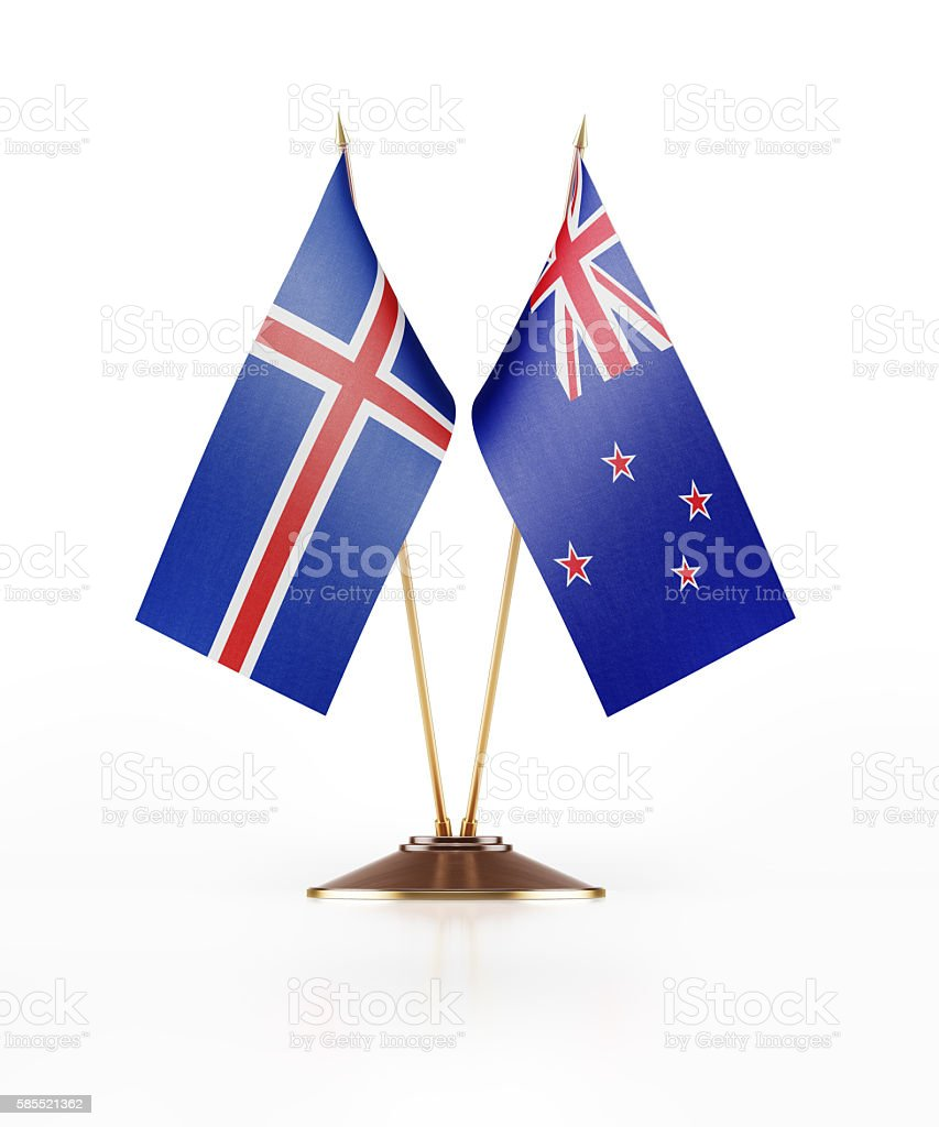 Miniature Flag of Iceland and New Zealand stock photo