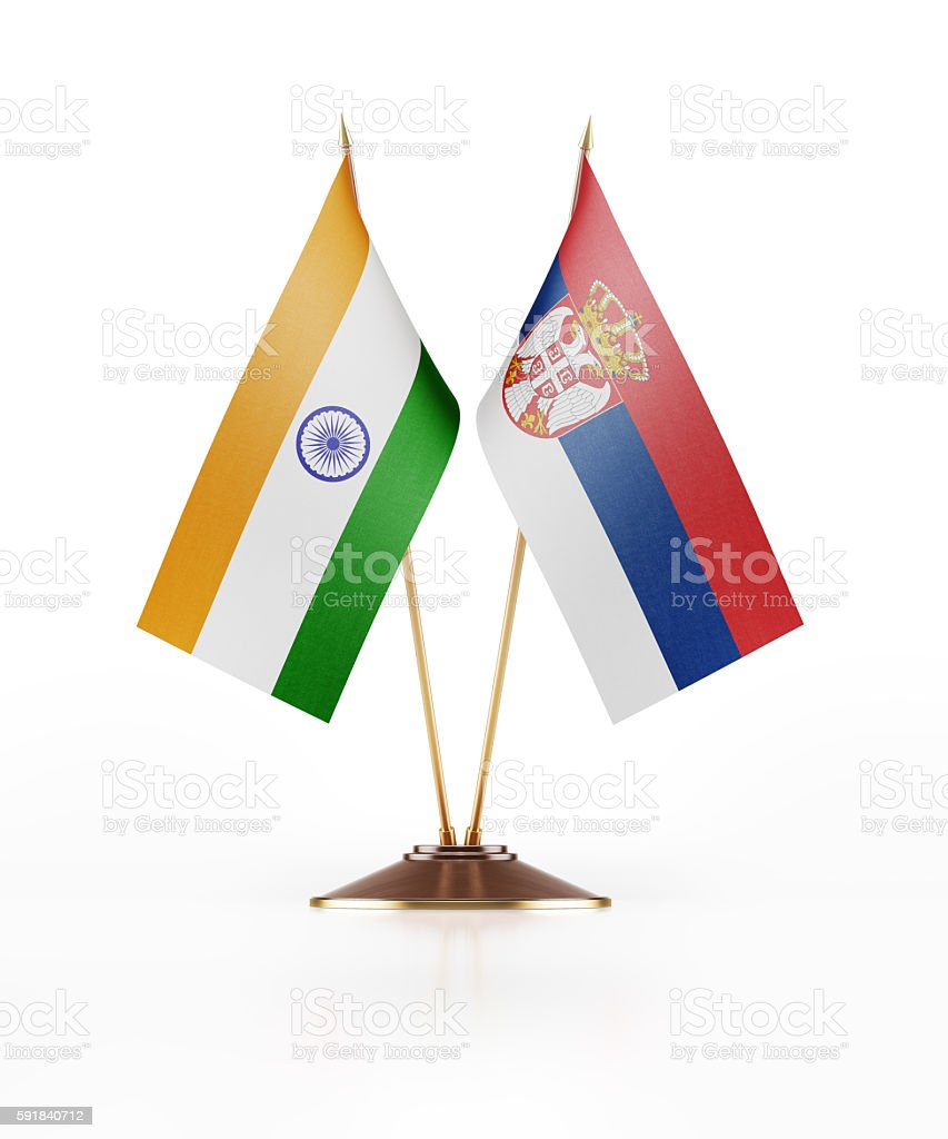 Miniature Flag of India and Serbia stock photo