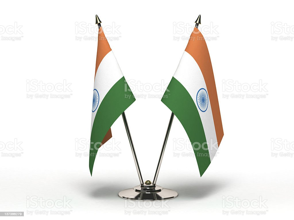 Miniature Flag of India (Isolated) stock photo