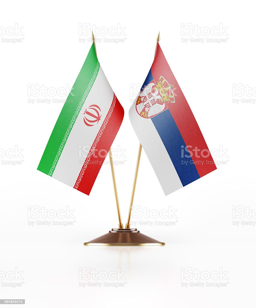 Miniature Flag of Iran and Serbia stock photo