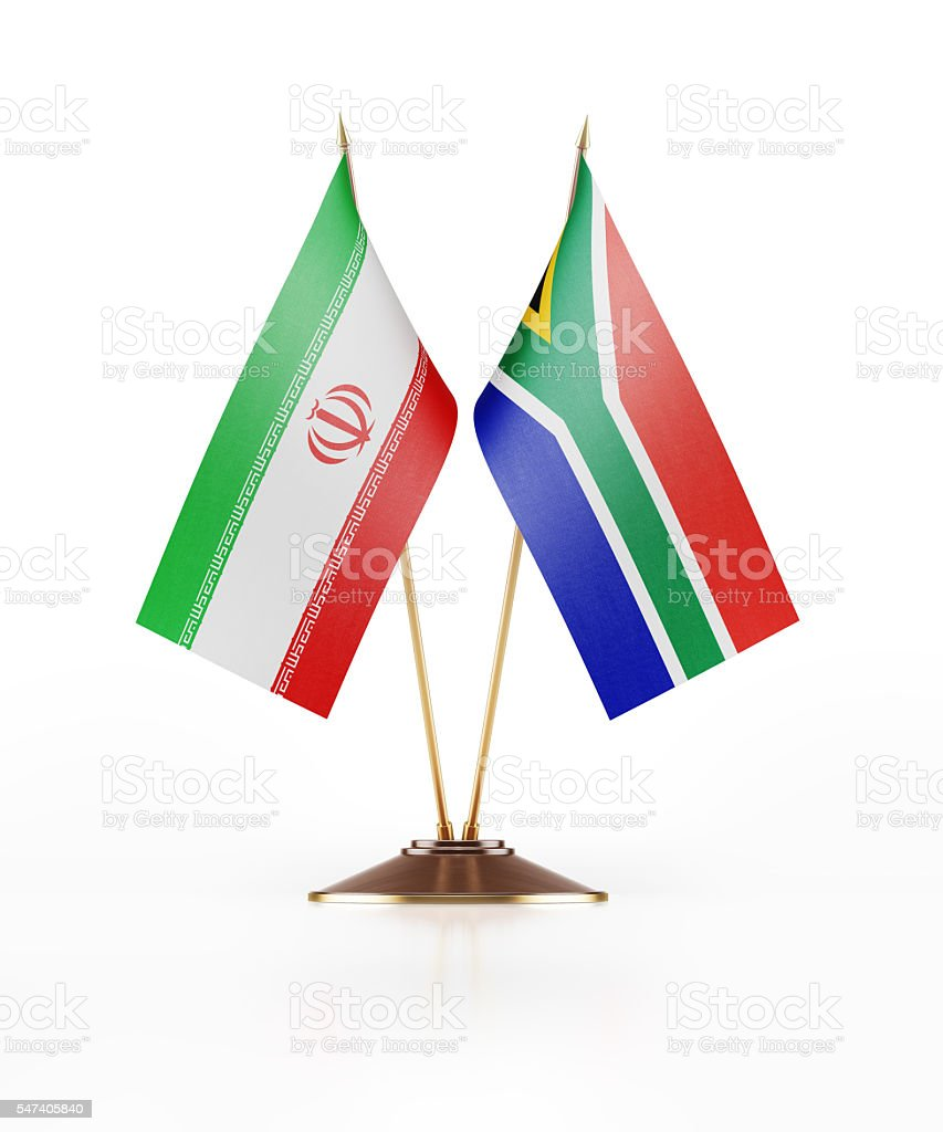 Miniature Flag of Iran and South Africa stock photo
