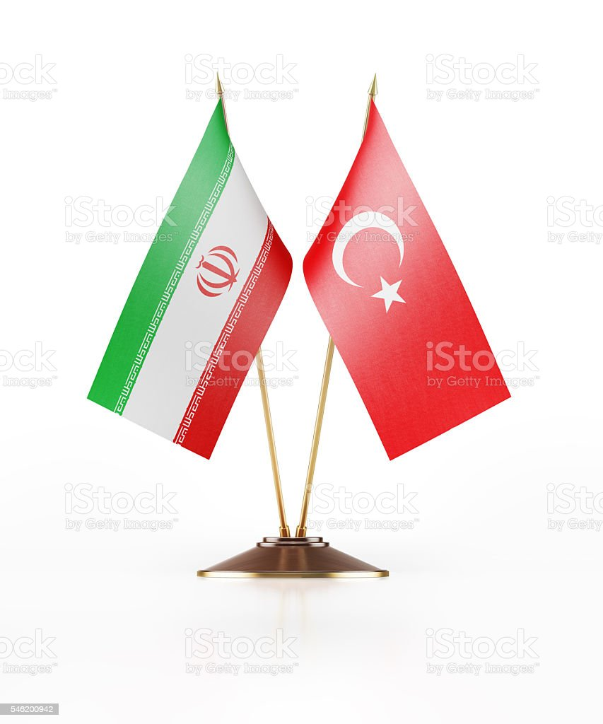 Miniature Flag of Iran and Turkey stock photo