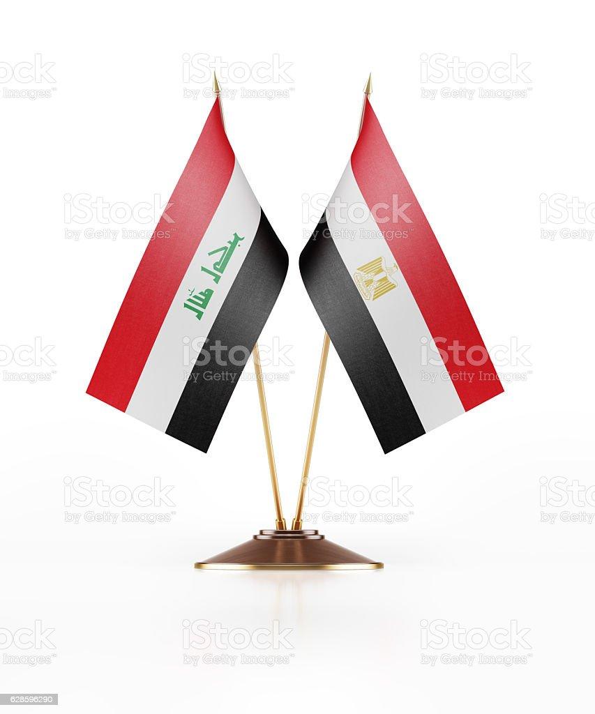 Miniature Flag  of Iraq and Egypt stock photo