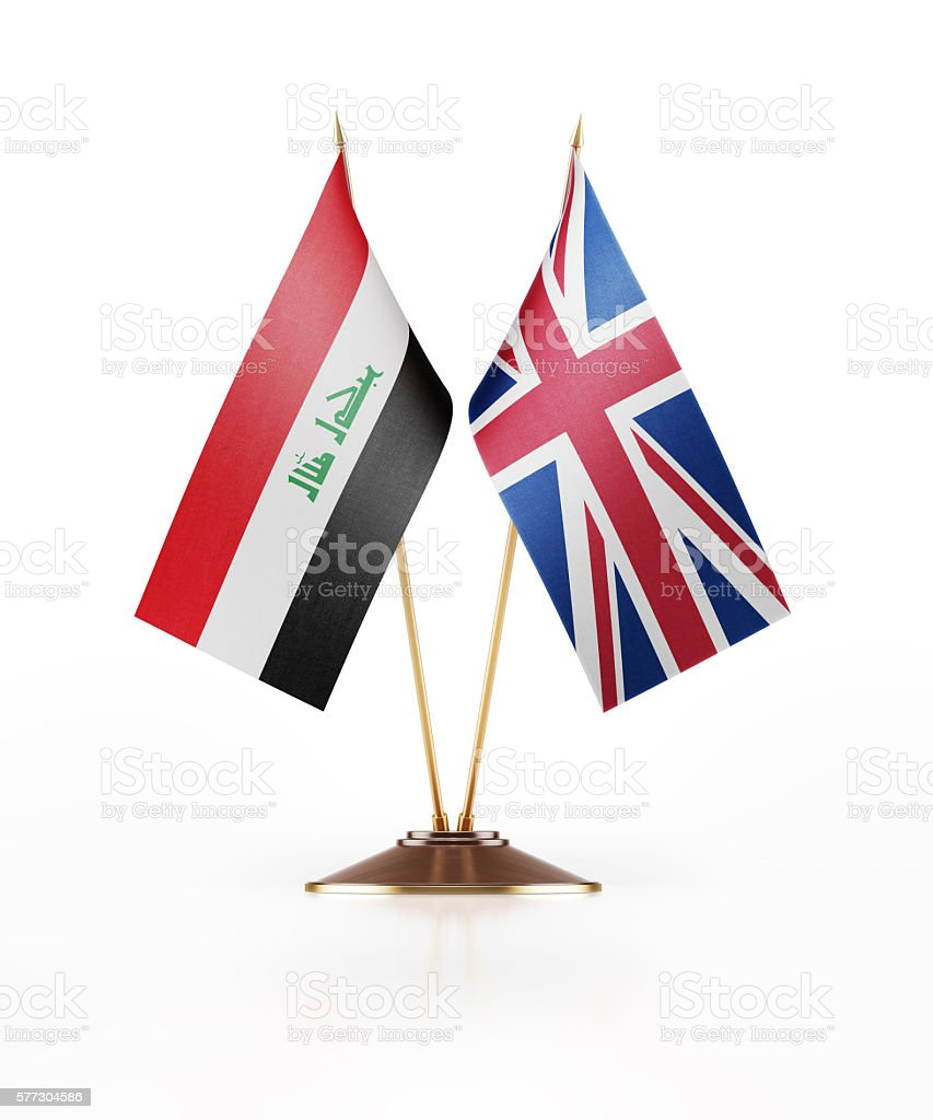 Miniature Flag of Iraq and Great Britain stock photo