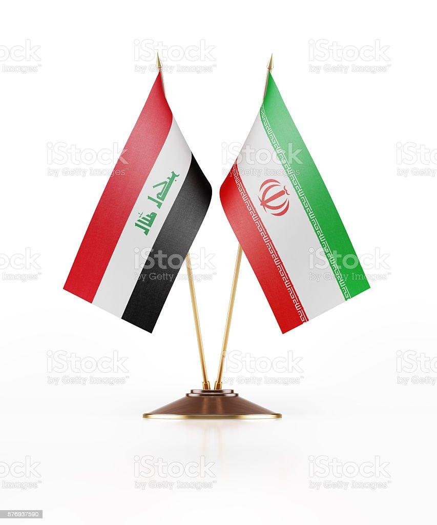 Miniature Flag of Iraq and Iran stock photo