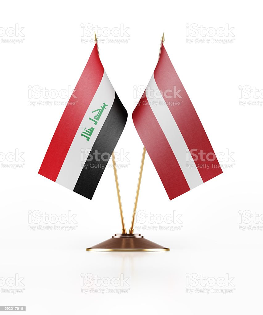 Miniature Flag of Iraq and Latvia stock photo