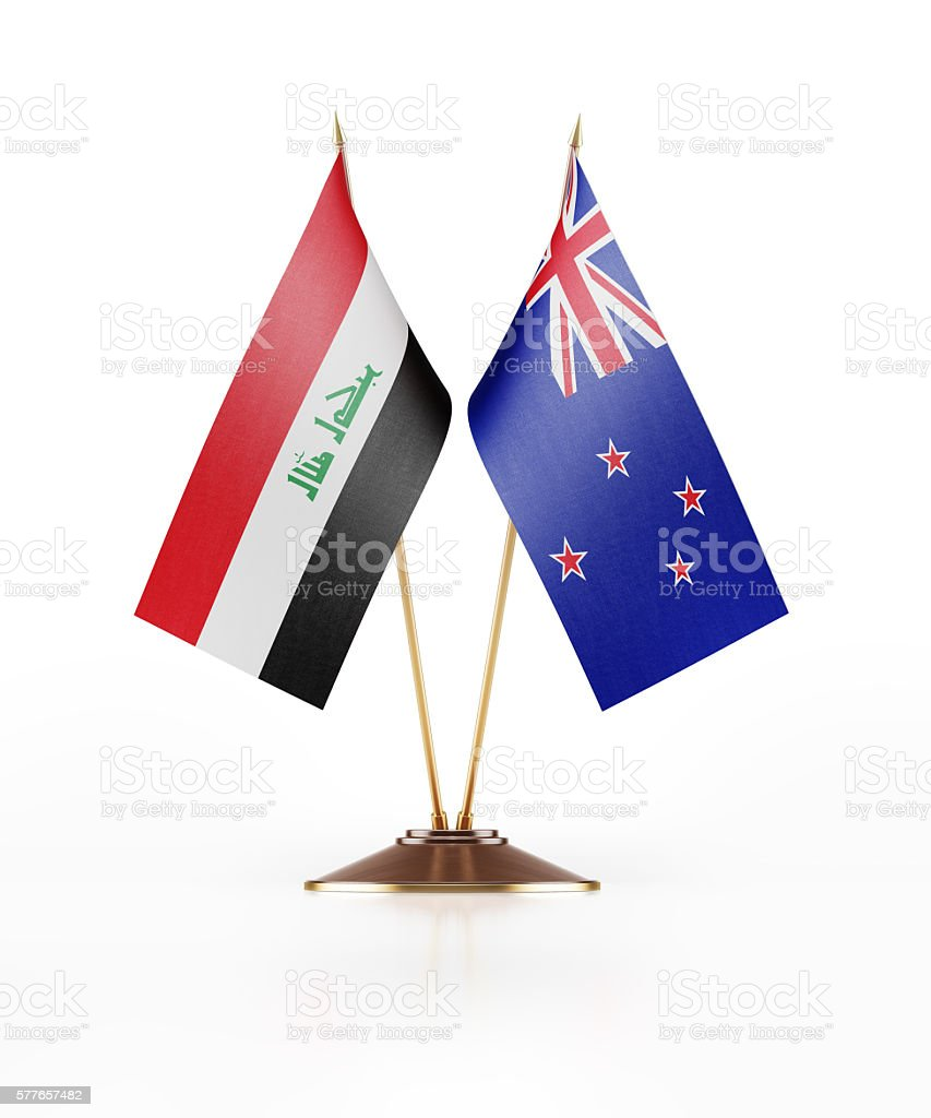 Miniature Flag of Iraq and New Zealand stock photo