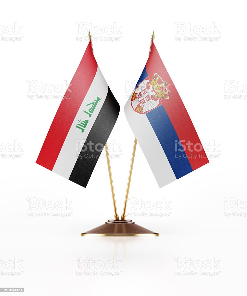Miniature Flag of Iraq and Serbia stock photo