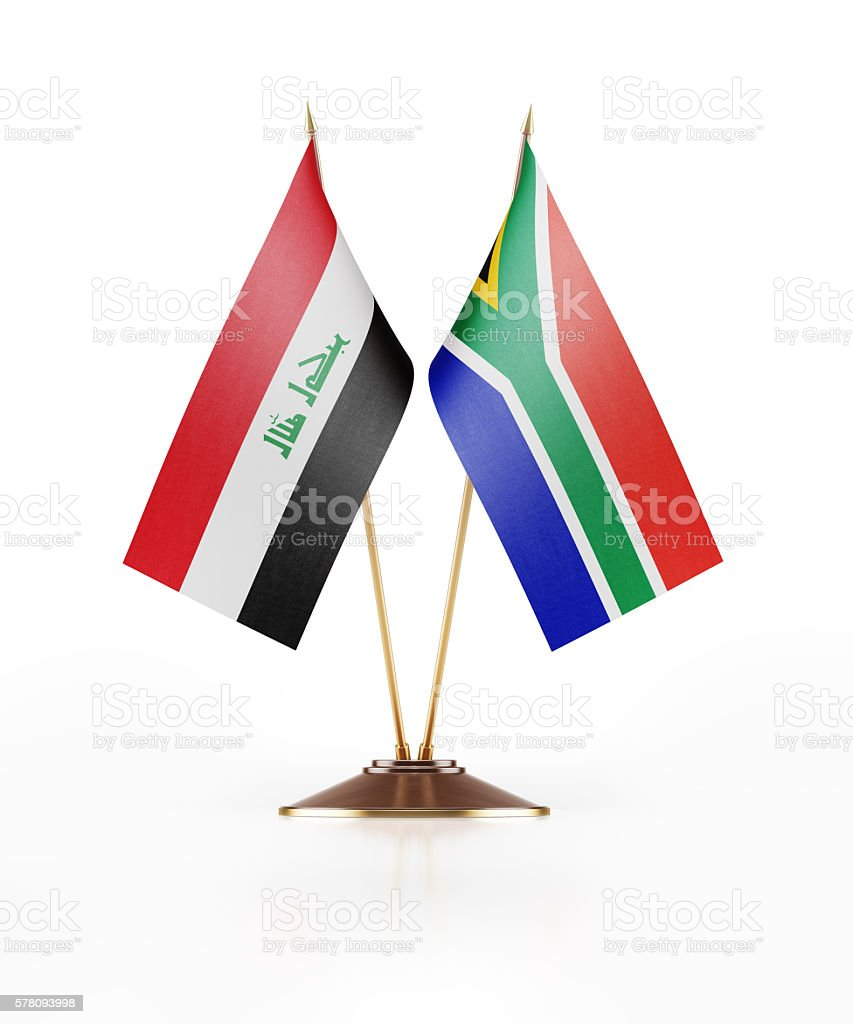 Miniature Flag of Iraq and South Africa stock photo